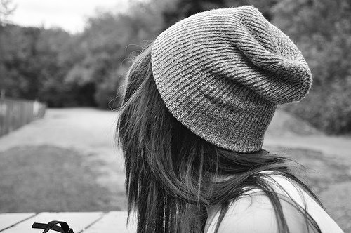 beanie, black and white, brunette, girl, grey, hat, monochrome, park