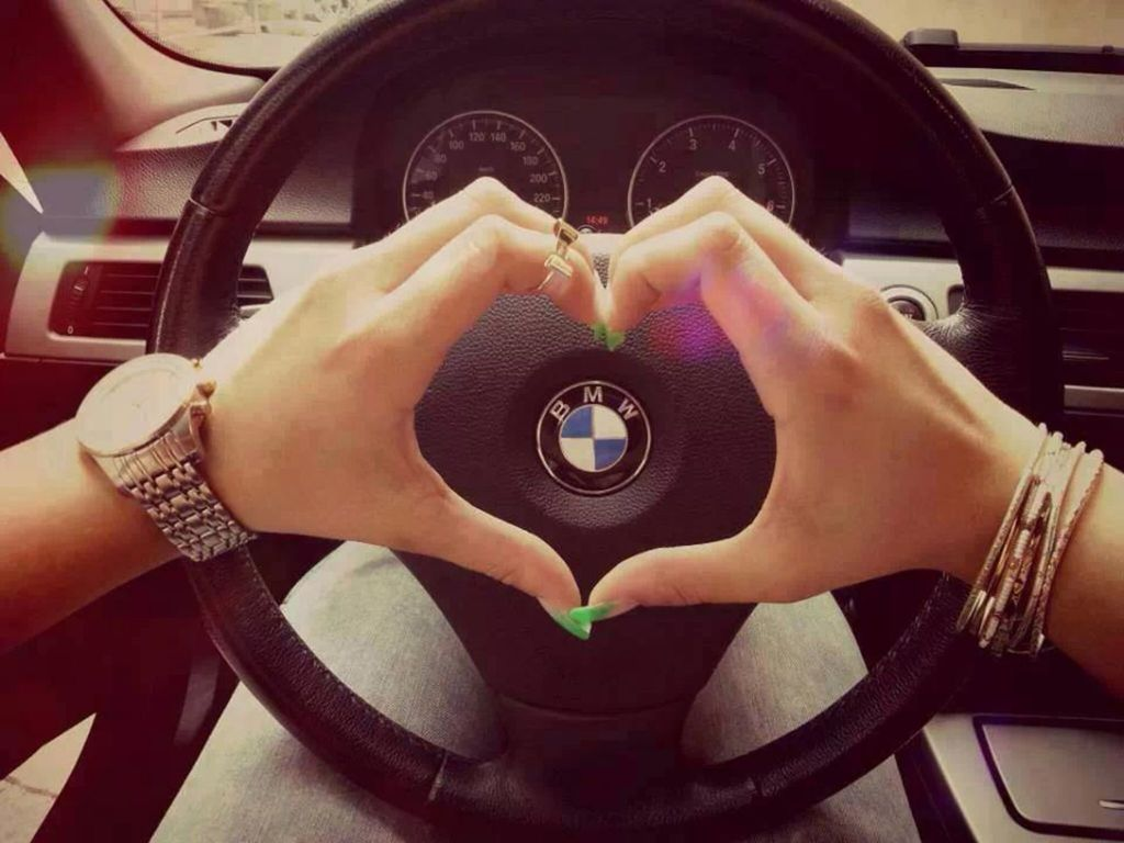 bmw, car, girl and heart