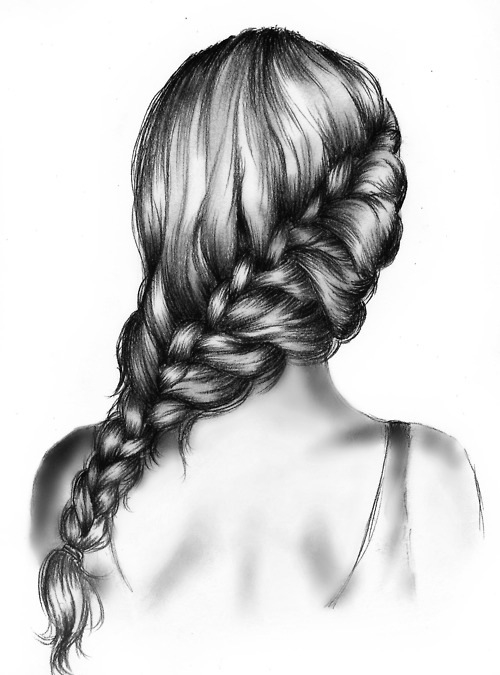 Beautiful black and white drawing girl hair plait for Beautiful drawings tumblr