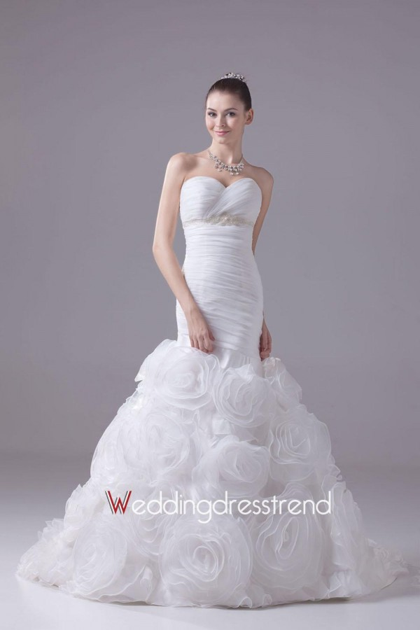 Cheap strapless pleated floral skirt mermaid bridal gown shop online