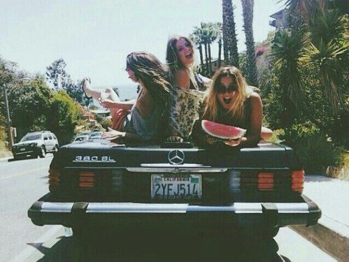 city, friend, friendship, funny, girls, good time, grunge, happiness, happy, indie, memories, mercedes, old car, smile, vintage, watermelon, wild