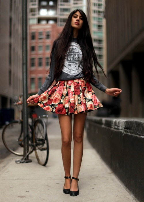 street, beautiful, clothes, skirt, look, love, legs, skinny, beauty, bicycle, fit, flowers, glamorous, pretty, style, body, jacket, print, inspiration, girl, rose, glamour, shirt