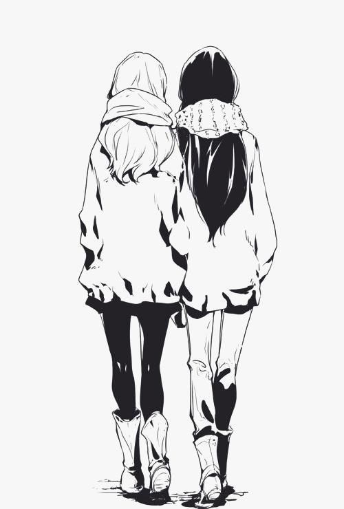 shoujo ai, together, girl love, side by side, black and white, sketch, anime girls, shoujo-ai, friends, yuri