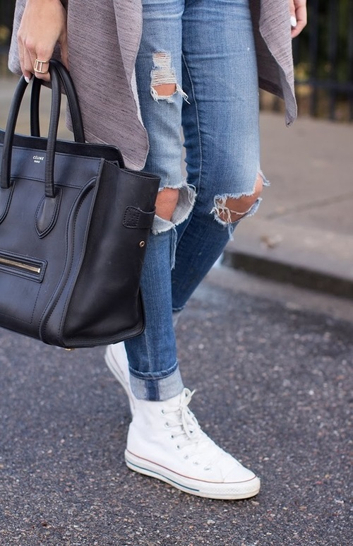 celine bag convers fashion girls in jeans ripped jeans