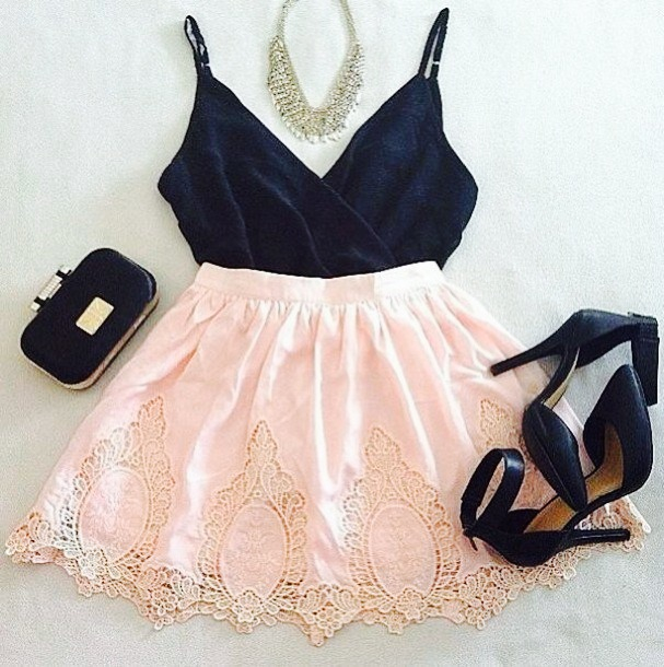 fashion, dress, girly, outfit, black, style, pink, white