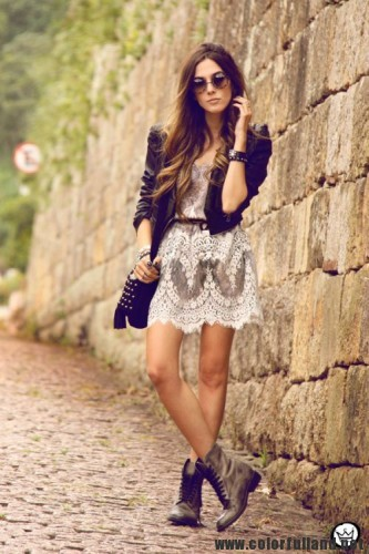 Lace Dress And Leather Jacket Image 1925937 By
