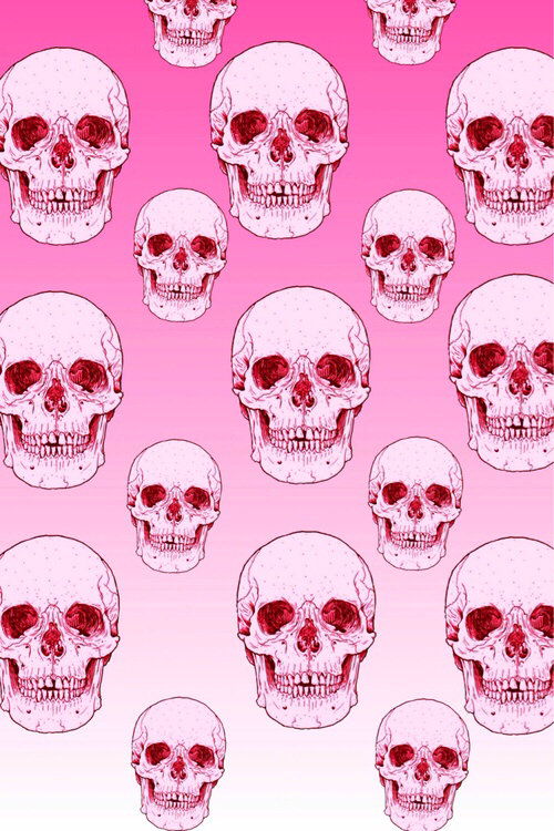 Background Pink Teen Girly Skull Wallpaper Image