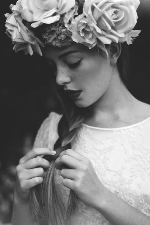 Black and white flower girl