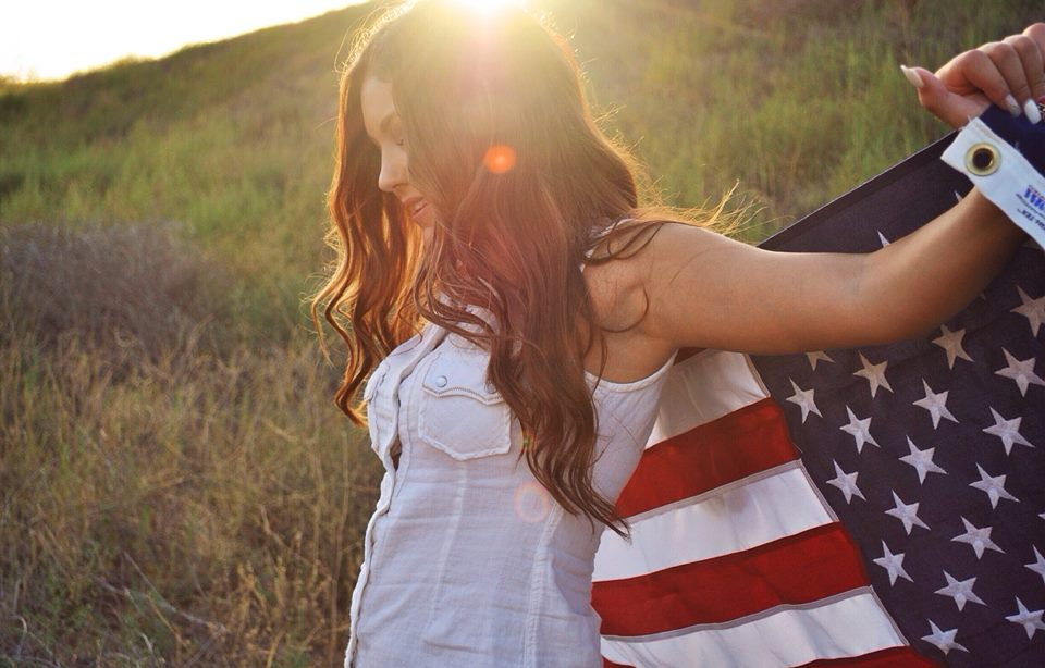 4th of july, american flag, beautiful, country, cute, girl, hair, july, love, photography, summer, sunset, tumblr girl, usa, merica