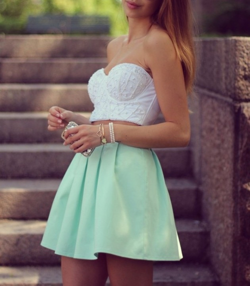 clothes, crop top, cute, mint, outfit, summer