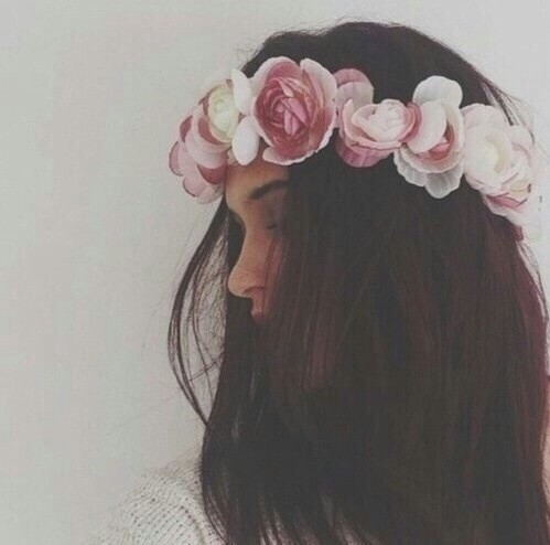 brown, face, flower crown and flowers