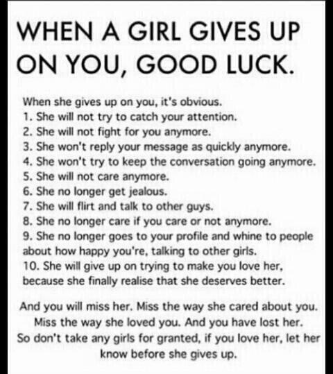 Good Girl Bad Boy Quotes: Quotes , WHEN A GIRL GIVES UP ON