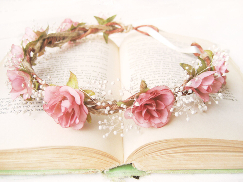 book, flower, girly, pink