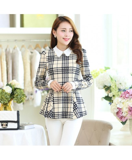 elegant, plaid blouse, korean plaid tops and long sleeve knitted top