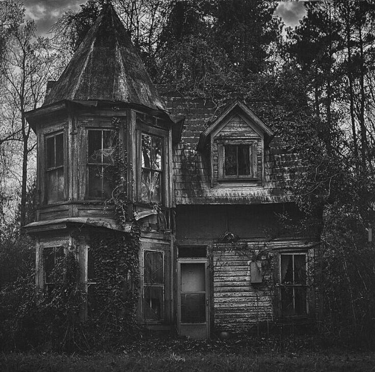 abandoned, black and white, creepy and decay