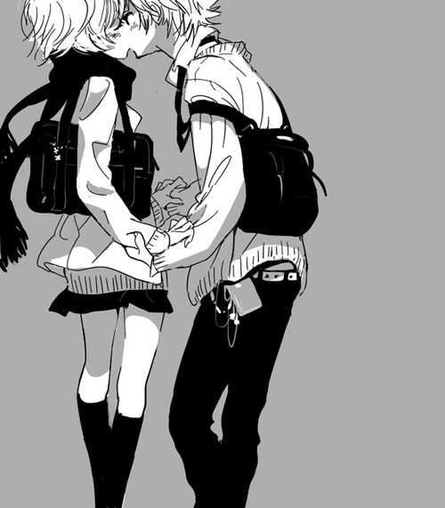 anime boy, anime couple, anime girl, bag, kiss, love, monochrome, romantic, school uniform