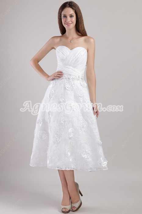 a-line, beach wedding dresses, lace wedding dress and tea-length