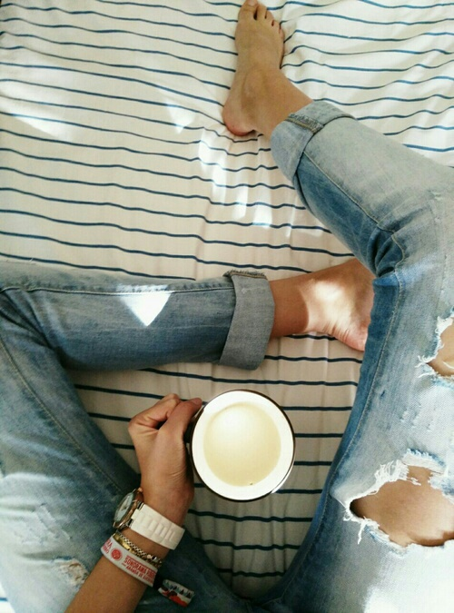 coffee, girl, girly, jeans, milk, relax, tumblr