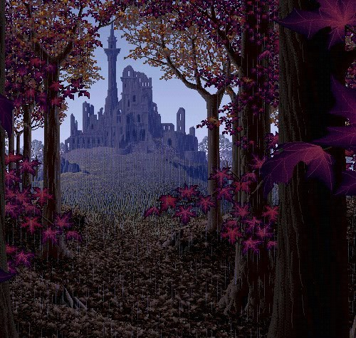 beautiful, castle, forest, nature, pixel, pixel art