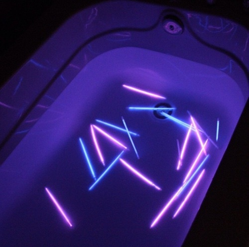 bathtub, glow sticks, glowing, grunge, purple, water
