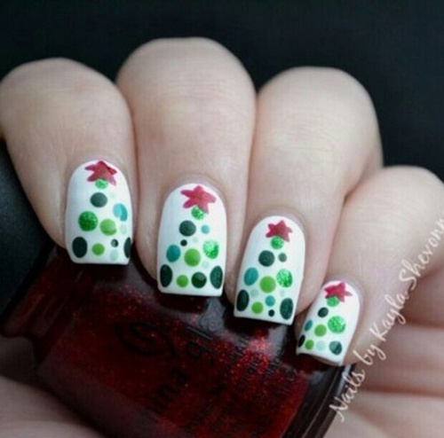 beauty, celebration, christmas, christmas time, christmas tree, december, dot, dots, green, happy new year, holiday, holidays, manicure, merry christmas, nail, nail art, nails, new year, spruce, star, fir-tree, spruce christmas, spruce new year