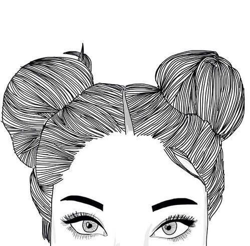 beauty, buns, drawing and eyebrows