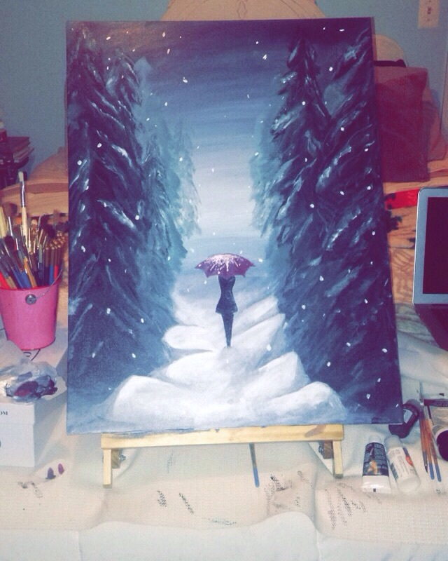art, artwork, beautiful, christmas, draw, painting, pretty, red, scene, snow, snowing, tumblr, umbrella, winter, tumblr art