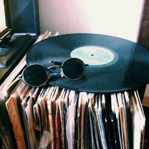 aesthetic, glasses, grunge, music, records - image #3868997