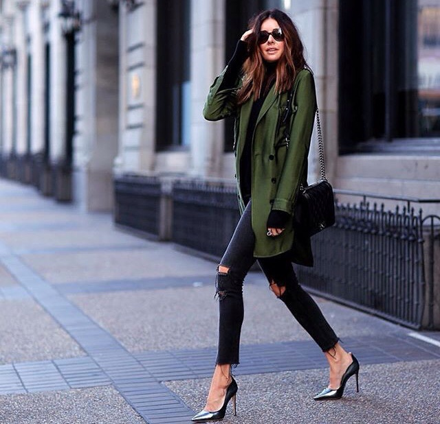 beauty, black, chanel bag, chic, coat, cute, fashion, girly, high heels, hot, model, outfit, ripped jeans, short hair, style, sunglasses, winter