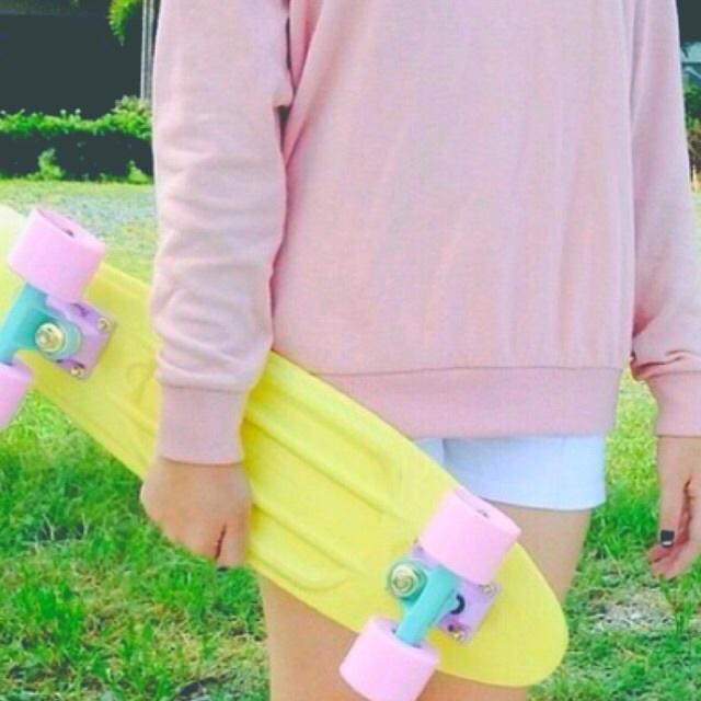 blue, board, bright, colors, filter, girl, girly, grass, hipster, pastel, penny, penny board, pink, skateboard, summer, sweater, teen, tropical, tumblr, yellow
