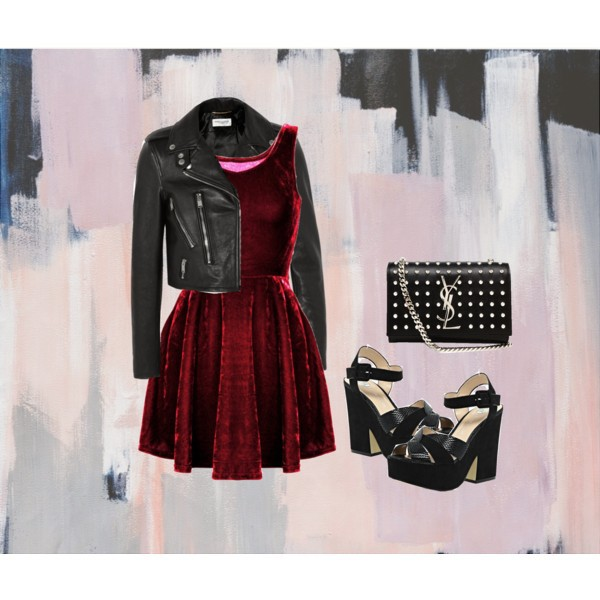 clothes, clothing, fashion, leather jacket, new year, new years eve, night, ootd, outfit, polyvore, style, tumblr, velvet dress