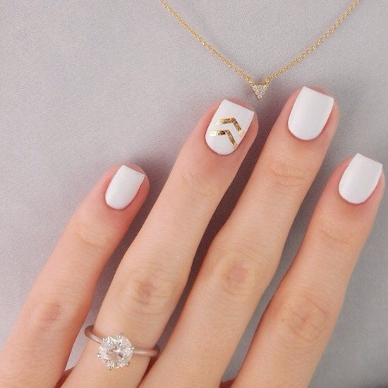arrow, fingers, gold, hand, nail polish, nails, necklace, ring, triangle, white
