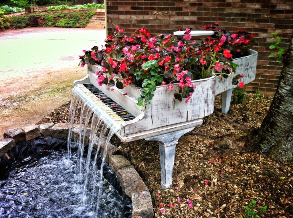 beautiful, beautiful flowers, cute, fairytale, flowers, lake, leaves, love, music, piano, red, red flowers, rose, roses, songs, water, waterfall