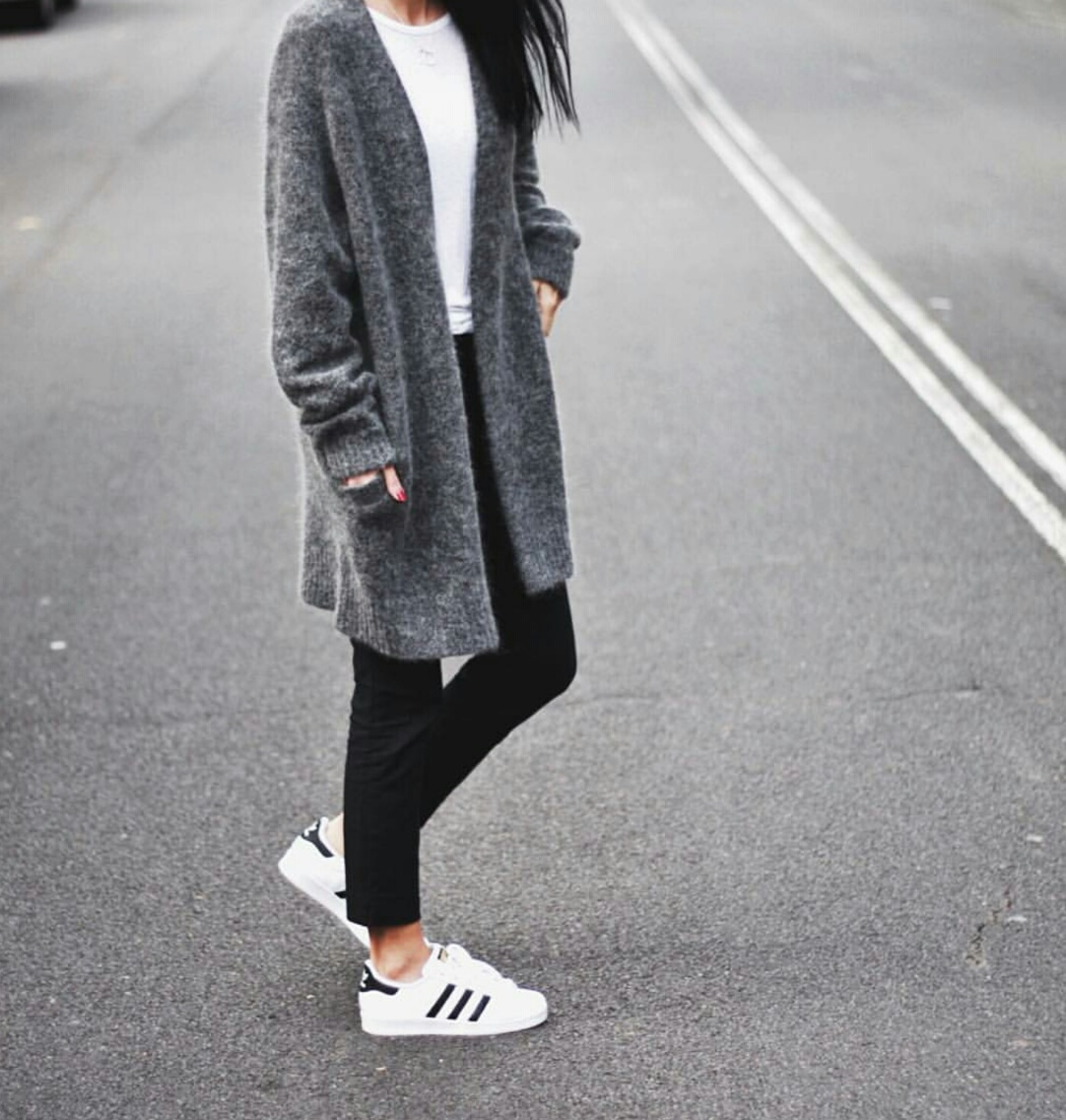 adidas, beauty, black, cardigan, chic, class, fashion, girl, girly, grey, knit, ootd, originals, outfit, pants, perfect, road, sport, style, superstar