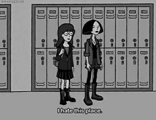 bad boy, black and white, cheerleaders, cliques, english, fashion, fun, hate, high school, i, jocks, laugh, learn, live, lockers, love, maths, nerds, people, place, school, science, stoners, students, teachers, this, hallways, loners