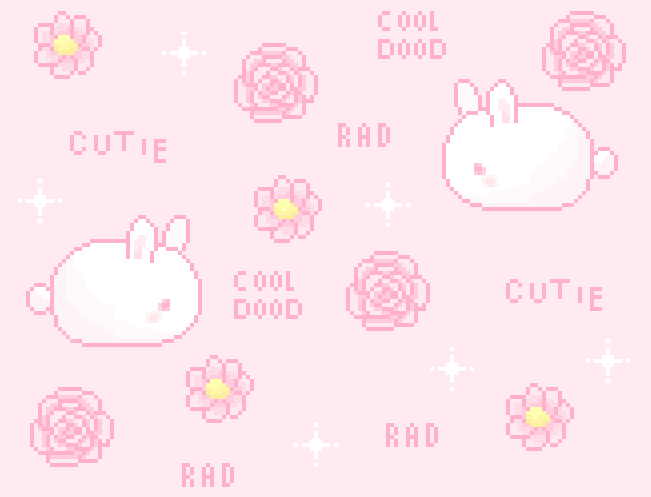 bunny, flowers, kawaii, pale pink, pixel art