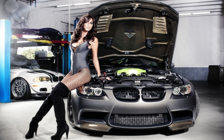 3 series, bmw, brunette, garage, girl