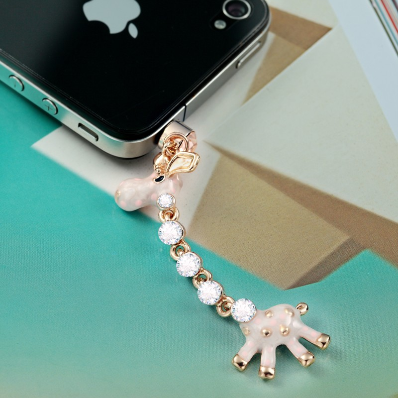 3.5mm earphone jack plug enamel giraffe charm
