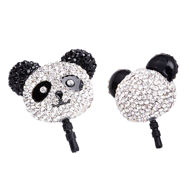 3.5mm headphone jack dust plug, anti-dust earphone plug stopper, dust plug stopper, headphone dustproof plug, crystal panda dust plug