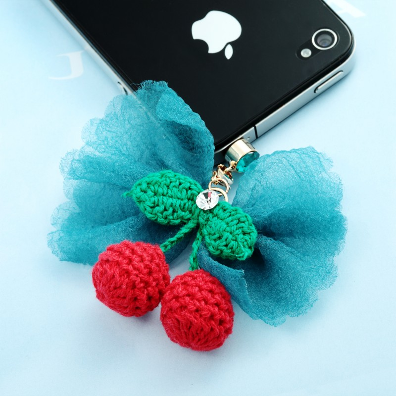 3.5mm phone anti dust plug, 3.5mm headphone jack plug charm, cherry 3.5mm phone anti dust plug, bow 3.5mm phone anti dust plug, earphone dustproof plug charm