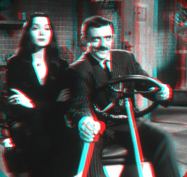 3d, anaglyph, gomez, morticia, retro, stereoscopic, the addams family, tv