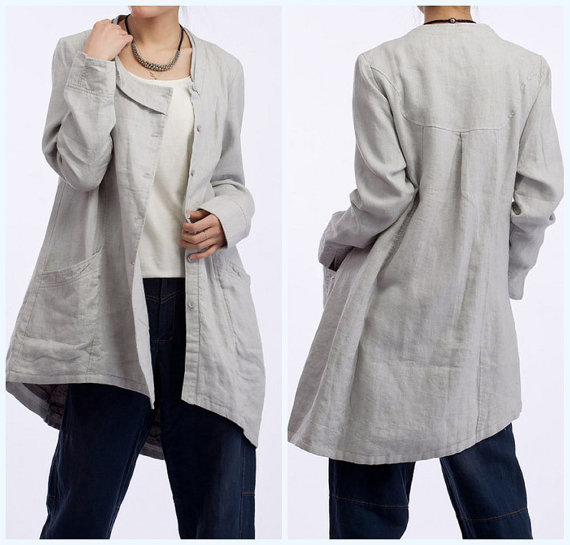 Light gray linen windbreaker coat with lining by MaLieb on Etsy