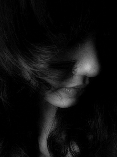 alone, beautiful, black, black and white, girl, hair, photography, sad, sadness