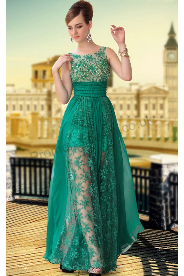 Prom dresses UK - Green Lace Sleeveless Tencel Party Ball Gown S650