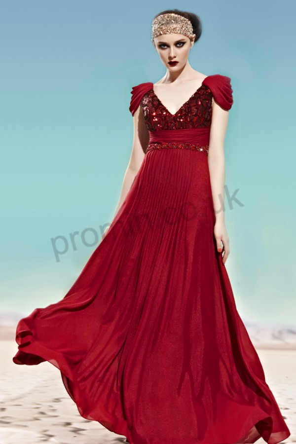 Prom dresses UK - Claret Cap-sleeve Sequins Chiffon Formal Evening Dress 56jjj