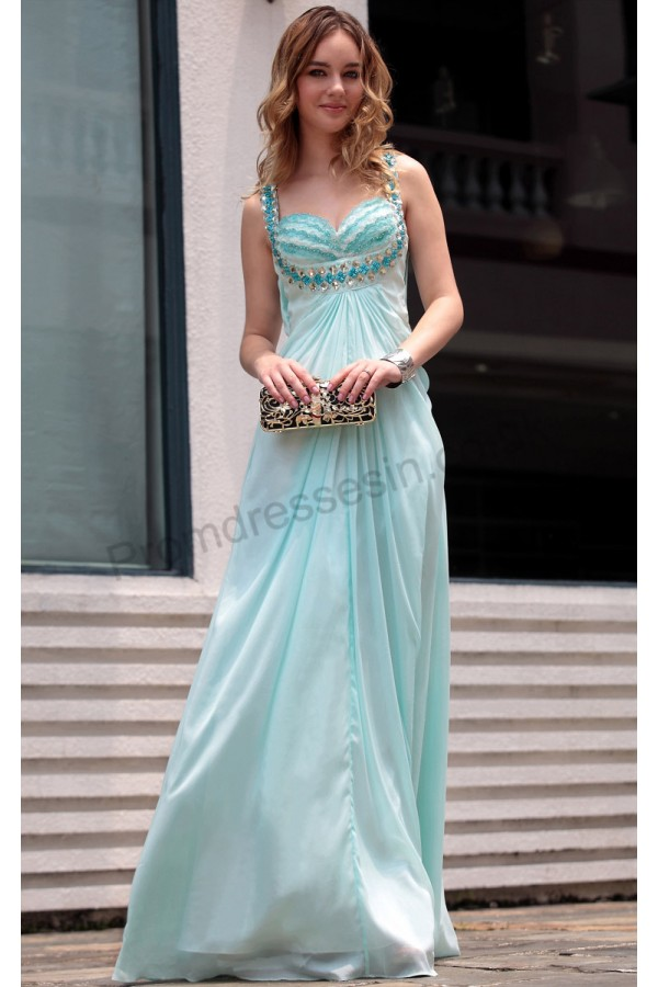 Prom dresses UK - Blue Spaghetti-strap Sweetheart Tencel Bridesmaid Evening Dress S662