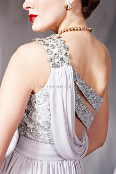 Prom dresses UK - 2012 Grey One-shoulder Satin A-line Evening Party Dress-56bys