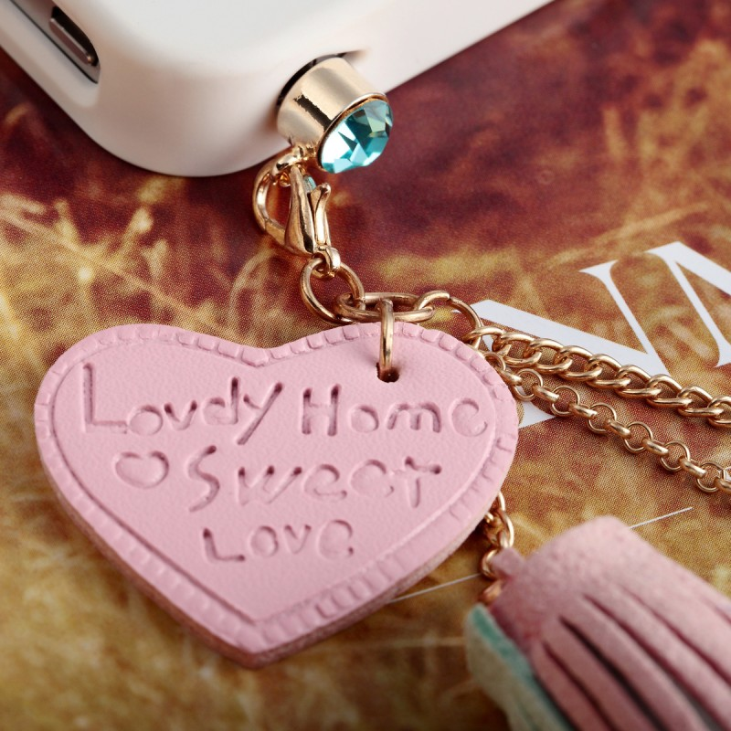 3.5mm Headphone Dust Plug Charm Heart Tassel Crown