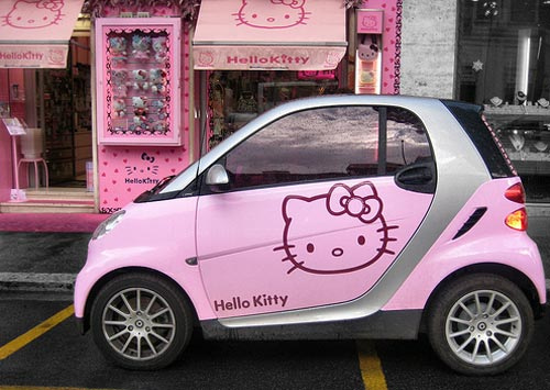 car, cat, girly, hello kitty, pink