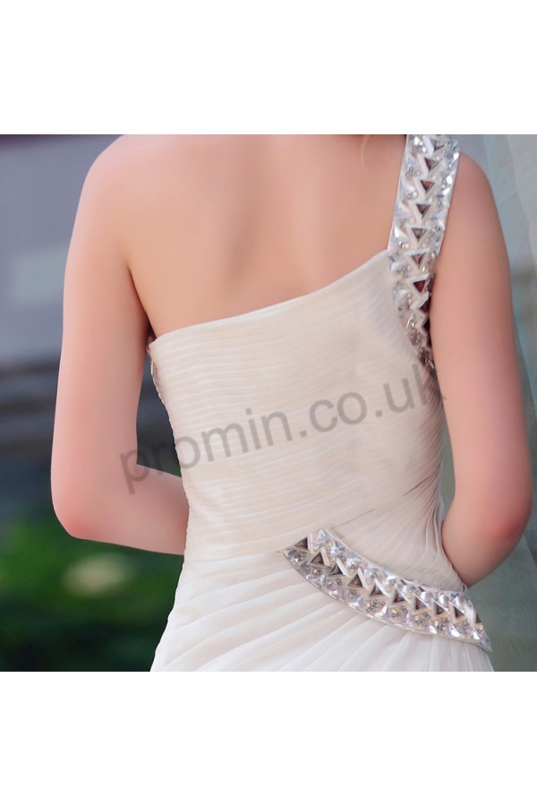 Prom dresses UK - White One-shoulder Ruched Chiffon Prom Dress S546
